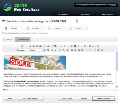 Spritz CMS Screenshot
